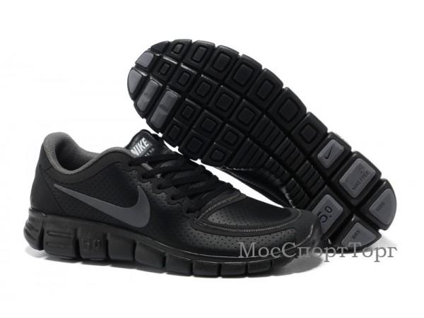 Nike Free 5.0 V4 кожа чёр. - дисконт цена